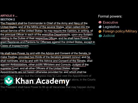 Formal And Informal Powers Of The US President | US Government And Civics | Khan Academy