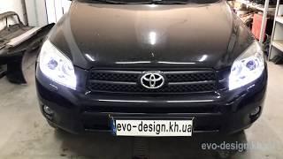 Toyota RAV-4 замена линз на Hella 3 NEW, LED ДХО
