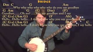 Hello Goodbye (The Beatles) Banjo Cover Lesson with Chords/Lyrics