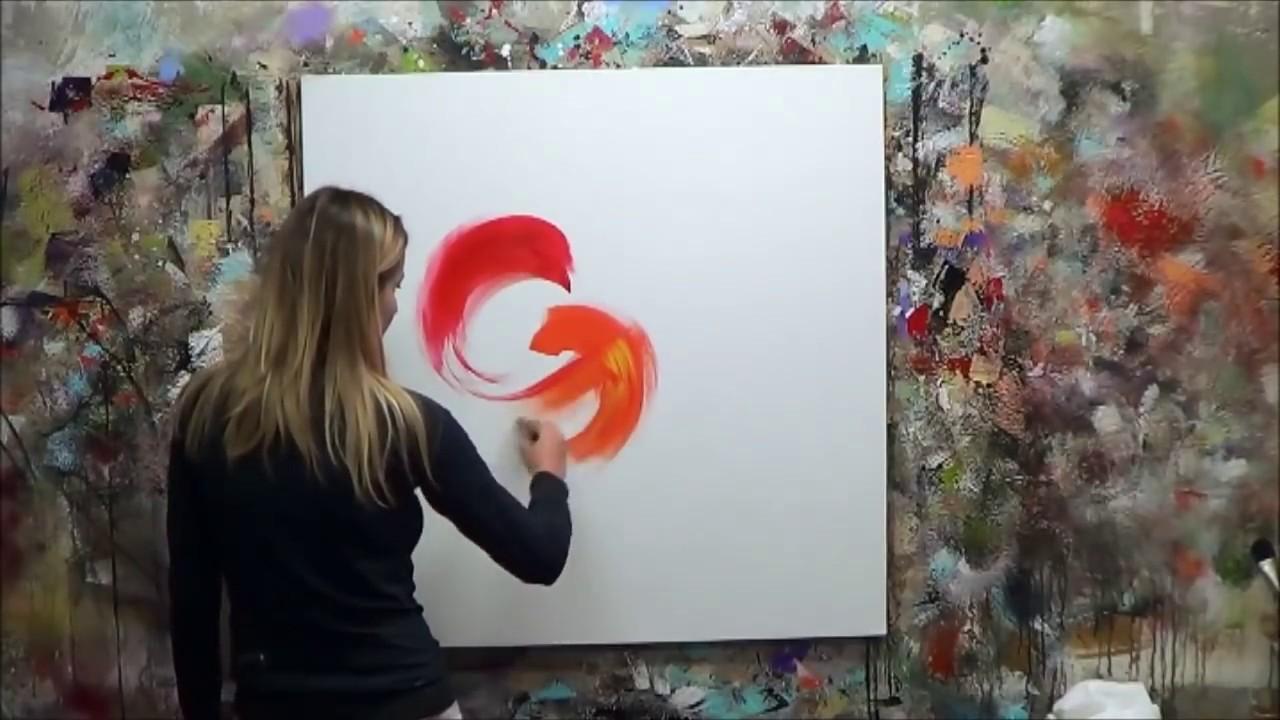 D monstration de peinture abstraite 12 elisabeth toile for Toile abstraite