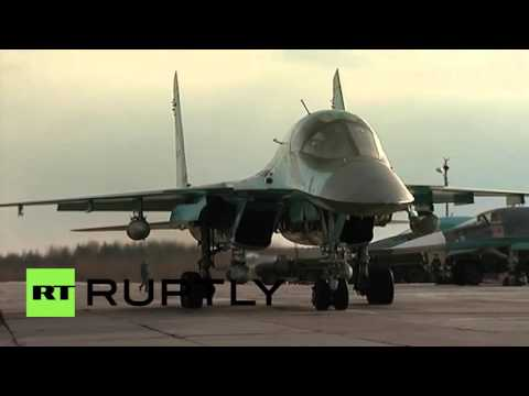 Russia: Breaking the ice! Sukhoi jets take-off to bomb ice floes on Sukhona River