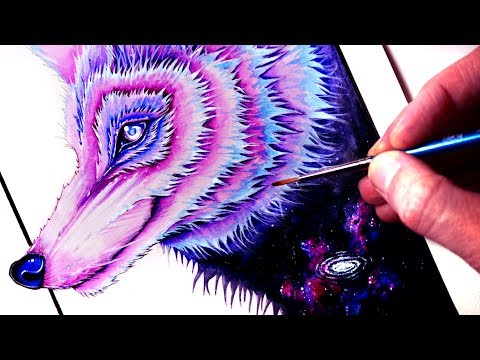 Painting a GALAXY WOLF - Time Lapse