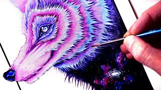 Painting a GALAXY WOLF Time Lapse YouTube