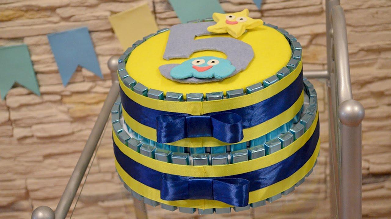 323Торт из конфет своими руками на день рождения ребенка видео