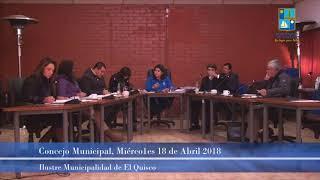 Concejo Municipal Miércoles 18 de Abril 2018 - El Quisco