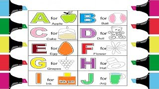 Learn Alphabet A to Z Coloring Pages Part 1| Learn Colors for kids |Coloring Alphabets for Kids