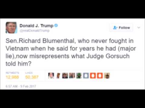 """""""Snake"""" Richard Blumenthal lying about Judge Gorsuch's words as he lied about own Vietnam service"""