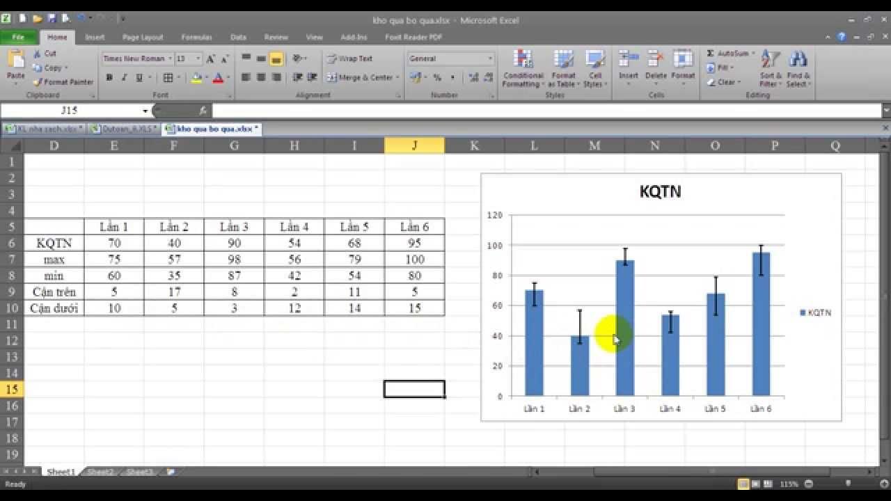 Ứng dụng excel vẽ biểu đồ error bars