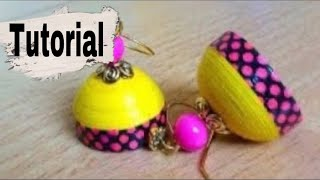 Quilling earrings ##simple design tutorial using with decorative paper tape..