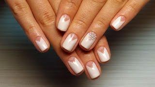 Дизайн ногтей гель-лак shellac - Лунный маникюр + жемчуг (видео уроки дизайна ногтей)