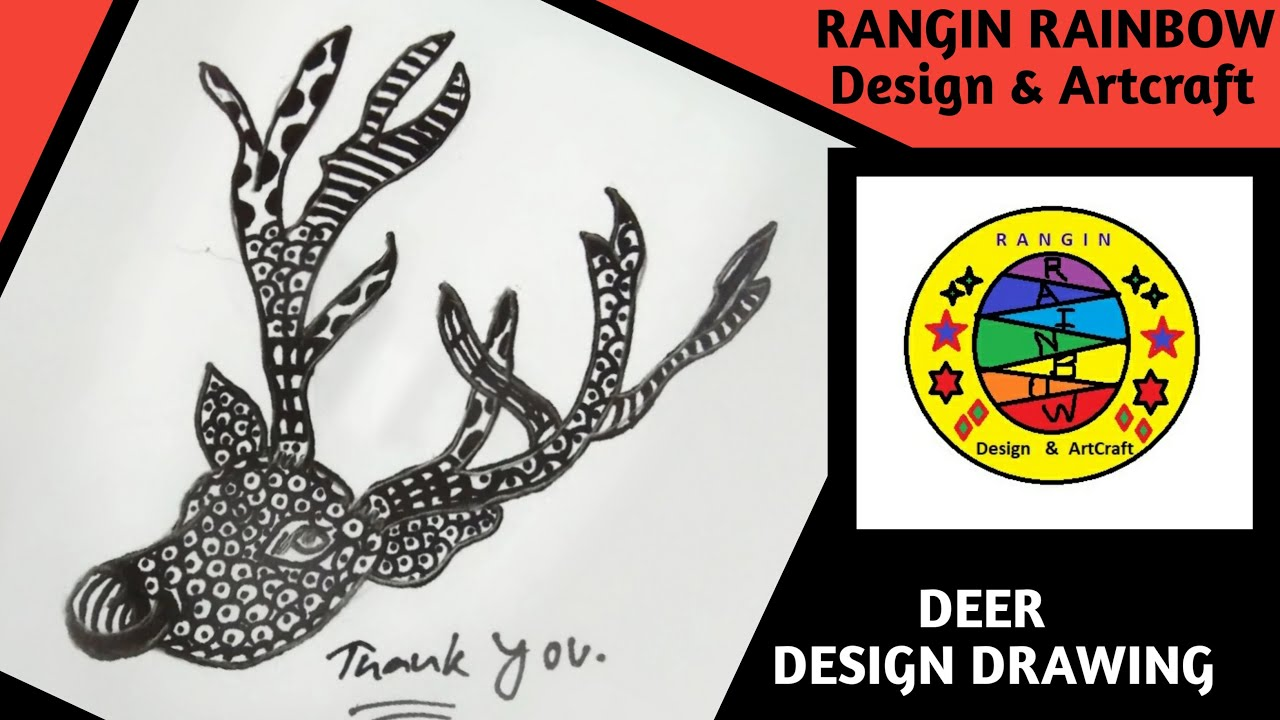 Deer Face Design | How To Draw A Deer Face Design Step By ...