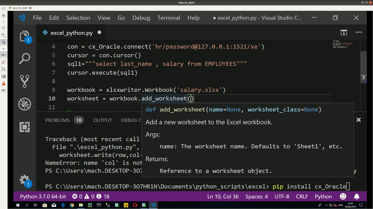 Excel and connecting to Oracle Database in python
