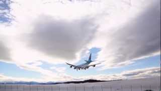 Excellent Approach, Beautiful Landing, Korean Air Cargo 747-8  landing, Anchorage Airport, Alaska