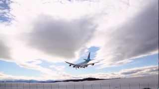 Excellent Approach, Beautiful Landing, Korean Air Cargo 747-8  landing, Anchorage Airport, Alaska