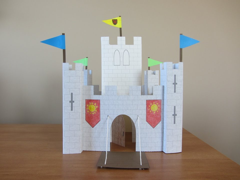 3d paper castle part 2 keep pennants youtube for Castle made out of cardboard