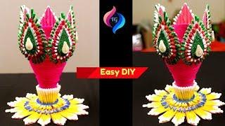 Best Out Of Waste Plastic Bottle Flower Vase - Flower Pot Making from Plastic Bottle & Cotton Buds