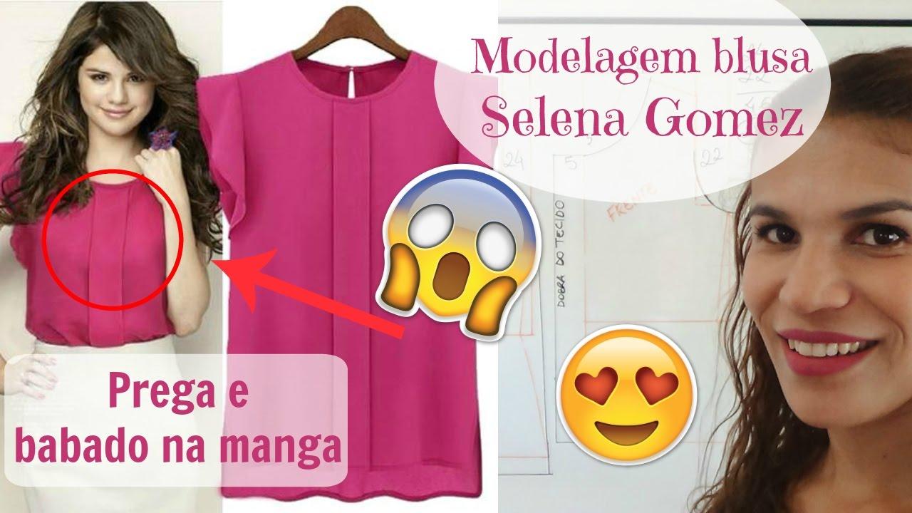 79e7aa3718 Modelagem de blusa com prega e babado nas mangas