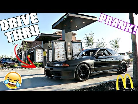Reverse Drive Thru Prank With Right Hand Drive Nissan Skyline GTR!!