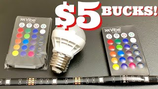 $5 LED Light Bulb & Light Strip W/ Remote From fiVe BELoW