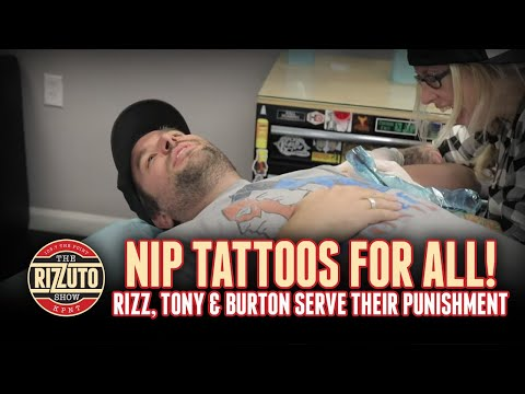 NIP TATS for all! The guys serve their punishment! [Rizzuto Show]