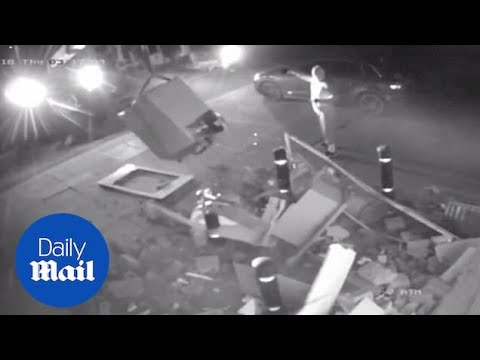 Incredible Moment Gang Rips ATM From Wall Using Stolen Digger