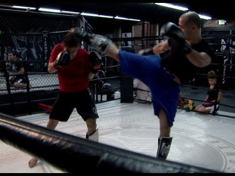 I am the fighter in black and blue, at age 49 sparing against a fit 24 year old!