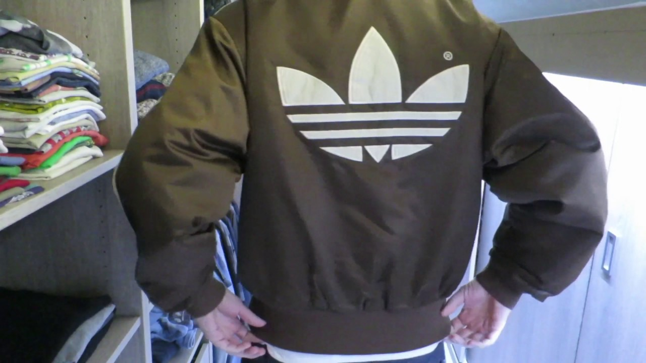 235e0dc5e415 Adidas vintage brown nylon bomber jacket - YouTube