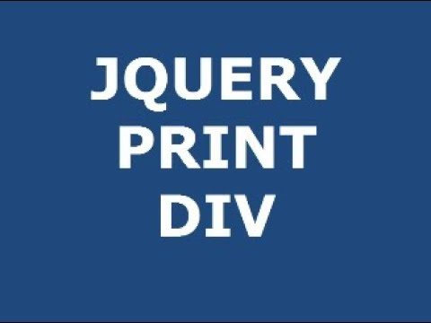 How to print HTML DIV with JQUERY tutorial