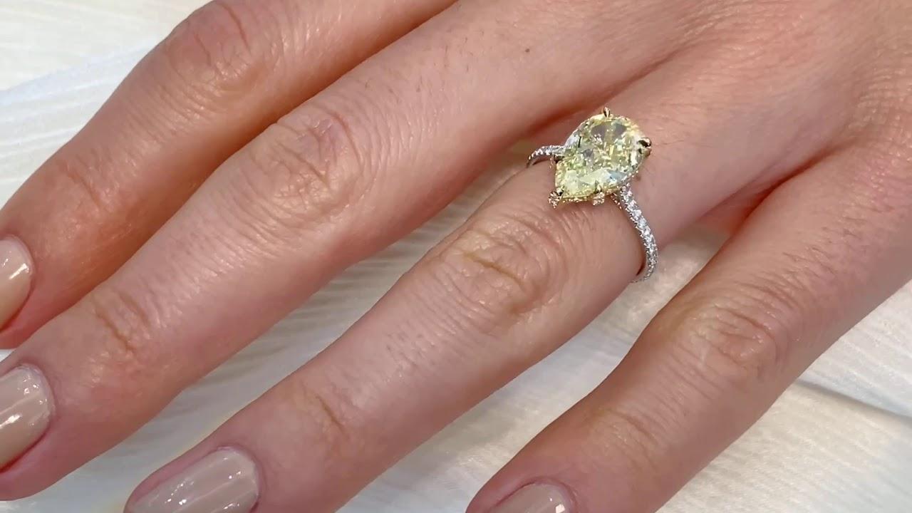 3.19 ct Pear Shape Yellow Diamond Engagement Ring