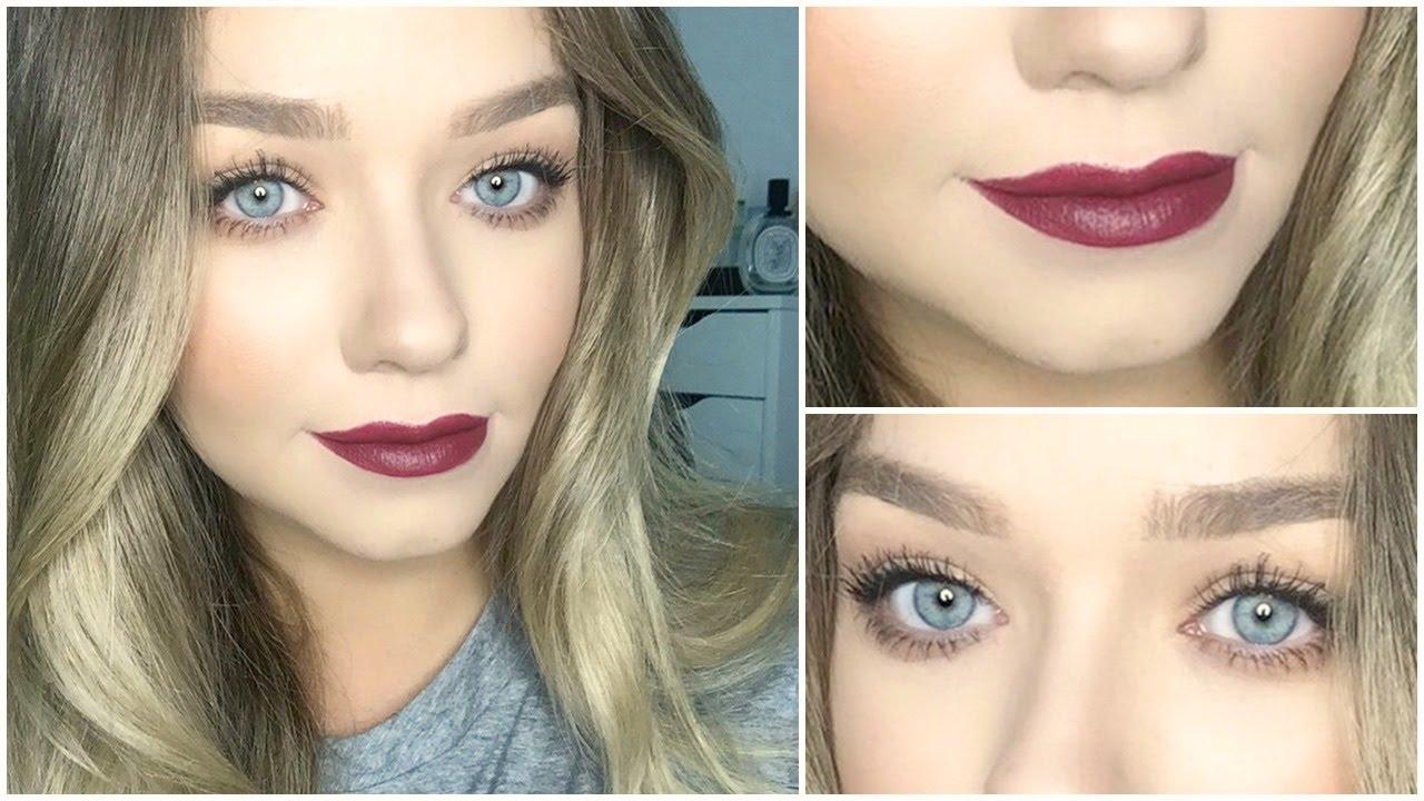 Soft smokey eyes and dark lips makeup tutorial beauty - Mac cosmetics lipstick diva ...