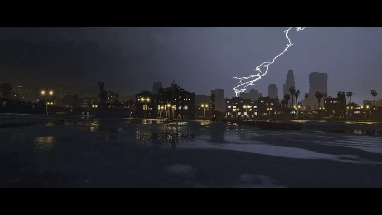 21:9 GTA V Thunderstorms Rain Beach(Live Wallpaper Engine ...