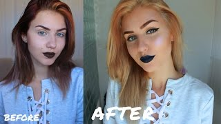 Bleaching my Hair at Home  From Burgundy to Golden Blonde  Stella