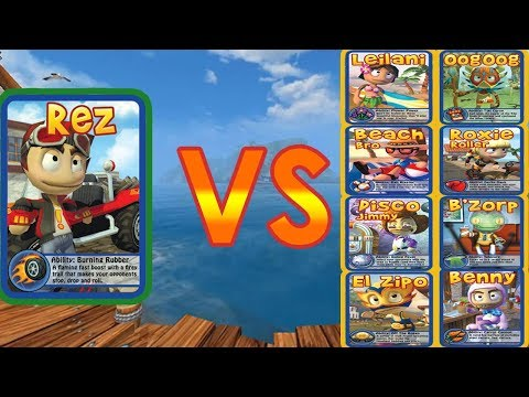 Beach Buggy Racing - All boss Battles - 100HP To 1000HP - Game Play HD