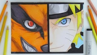 Speed Drawing - Naruto and Kurama (Nine Tails) Drawing [HD]