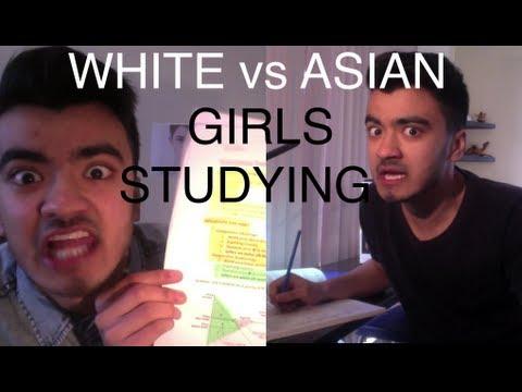 Asian Vs White Girls Studying