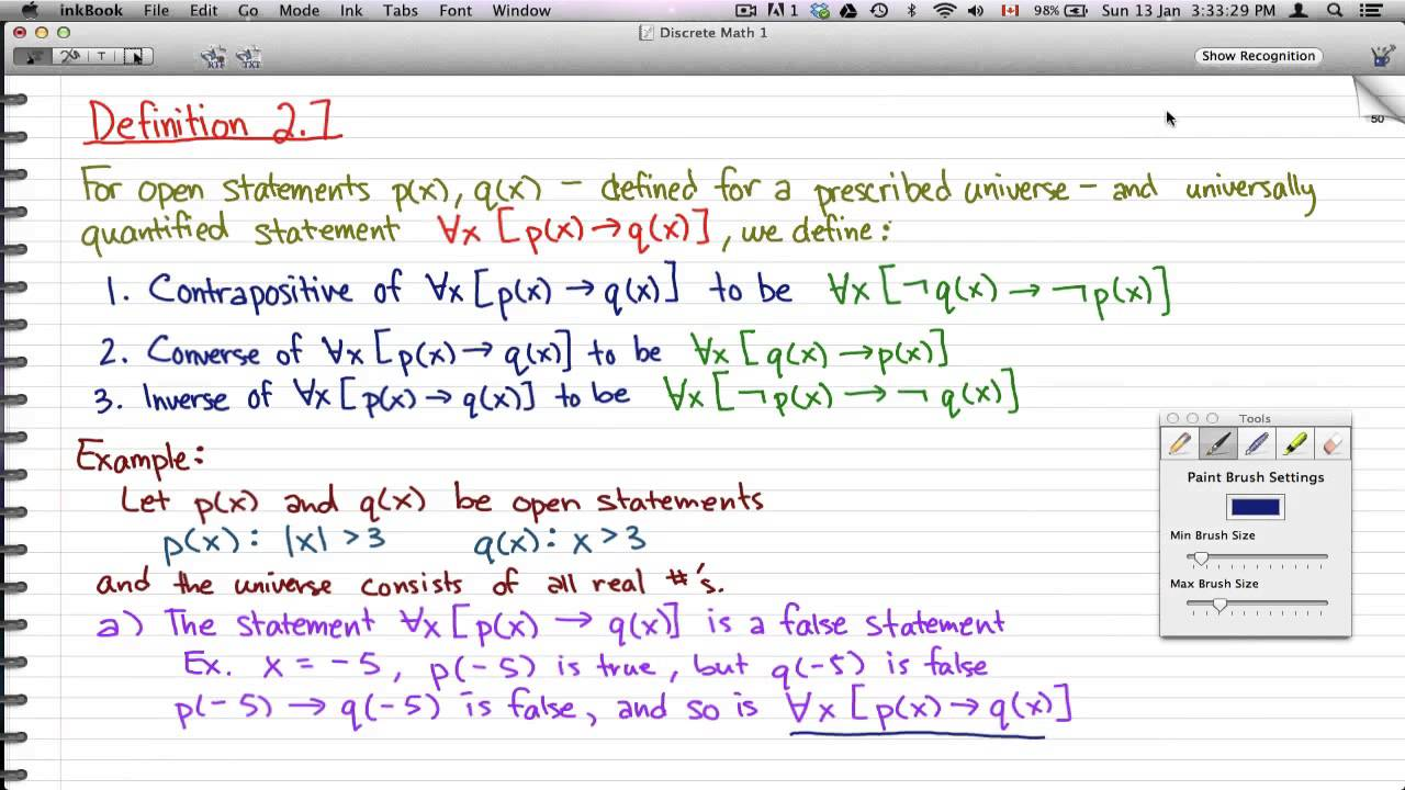 discrete math 1 - tutorial 39 - statement, contrapositive, converse