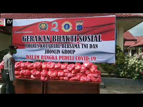 Polres Kotabaru bersama TNI dan Jhonlin Group Bhakti Sosial Pada Warga Terdampak Covid-19