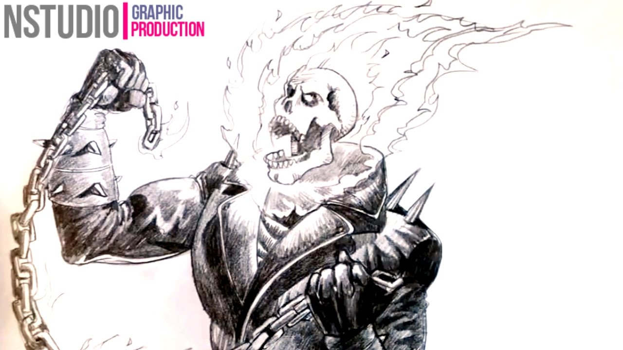 How To A Draw Ghost Rider Step By Step Youtube