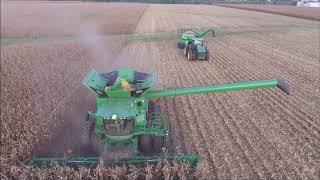 JUNIOR HARVEY FARMS BATH, IN SHELLING CORN SEPT 20, 2018 DRONE VIDEO