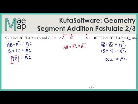 KutaSoftware: Geometry- Segment Addition Postulate Part 1