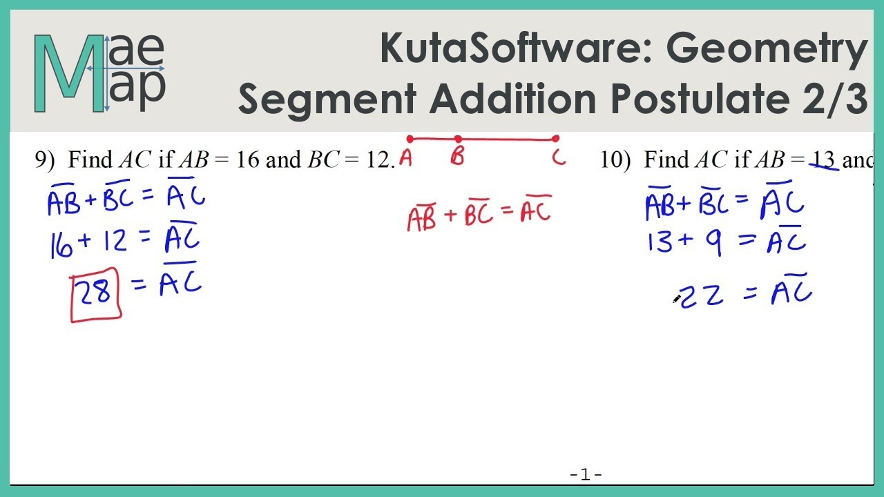 Kutasoftware Geometry Segment Addition Postulate Part 2 Youtube