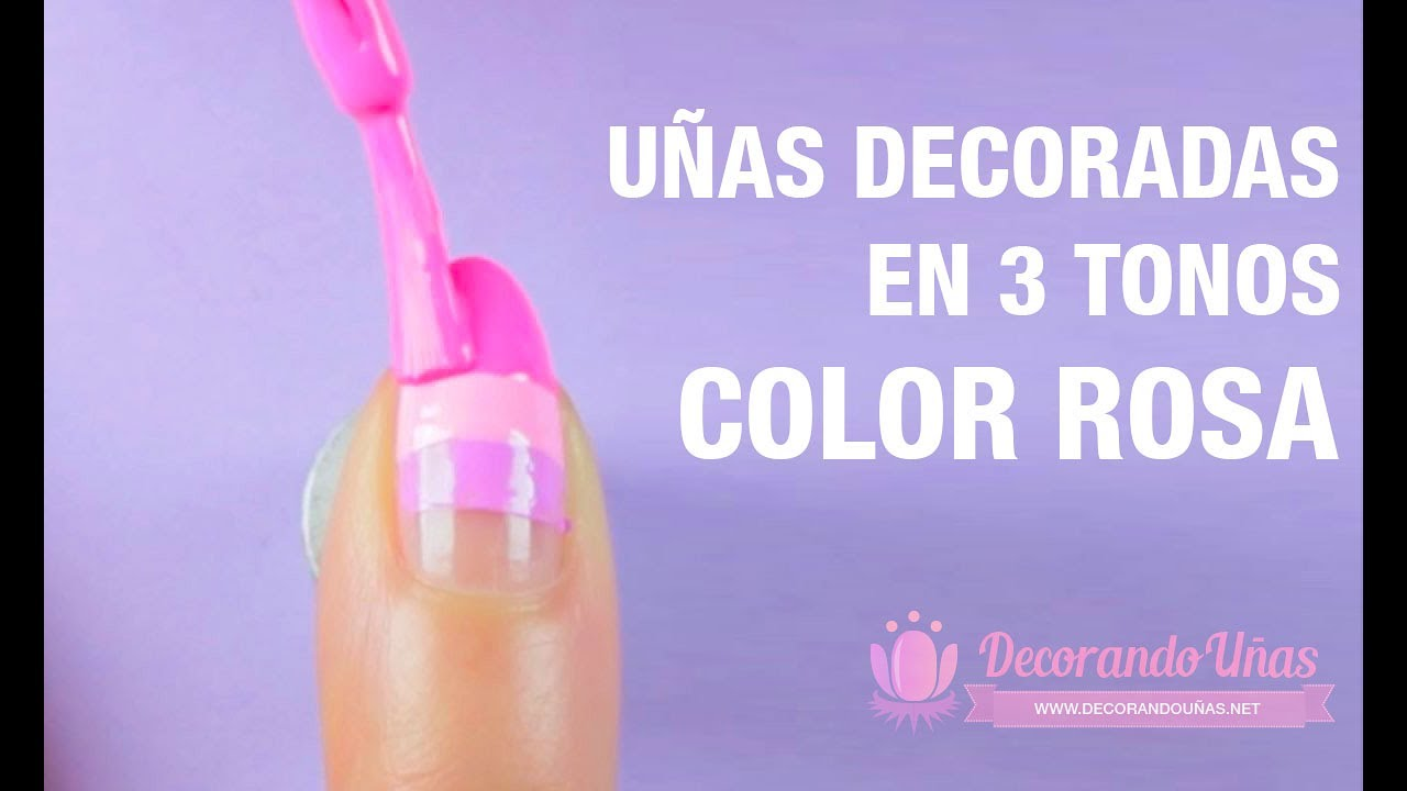 Uñas Decoradas En 3 Tonos De Color Rosa Youtube