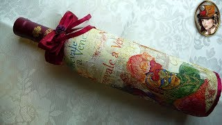 DECOUPAGE BOTTLE. The DECORATION of the BOTTLE for the New Year