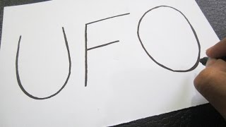 How to turn words UFO into a Cartoon ! Learn drawing art on paper for kids