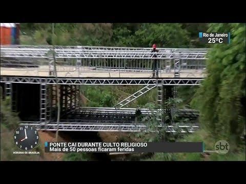 Ponte cede durante evento religioso e deixa feridos em MG | SBT Brasil (03/11/17)