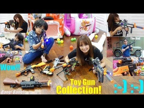 Toy Guns! Children's Toy Gun Collection. Toy Guns with Lights and Sounds. Diecast Car Corvette