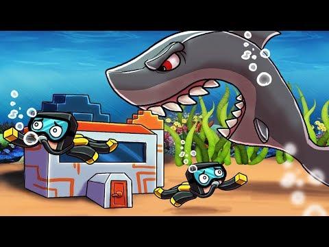 Minecraft | JAWS UNDERWATER BASE DEFENSE-  (Shark Secure Base Challenge)