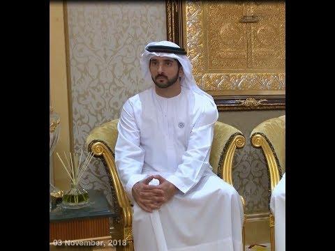 Mohammed bin Rashid, Abu Dhabi Crown Prince receive KhalifaSAT engineering team (03 November, 2018)