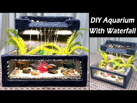 How to Make Aquarium With Waterfall - DIY Aquarium Waterfall - Using Tissue Paper & Cement
