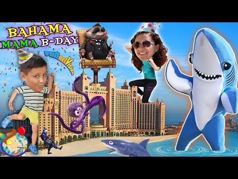 MAMAS' BAHAMAS DANCING SHARK B Day Celebration! FUNnel Vision 2018 Atlantis Hotel Vlog #2